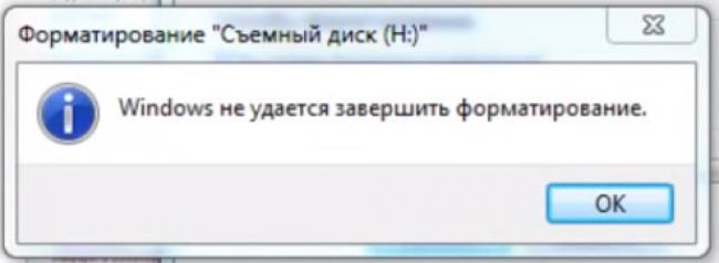 Рис. 1 Окно ошибки при попытке форматирования флешки