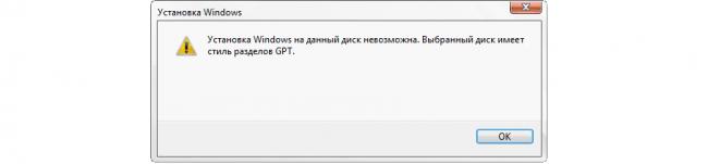 Рис. №1. Ошибка, возникающая при попытках установить систему на GPT диск