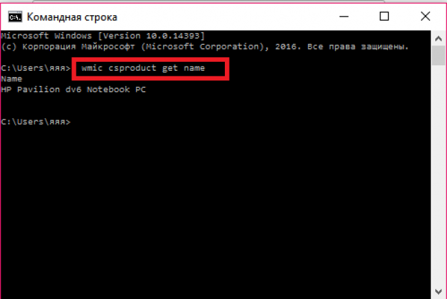 Рис. 5 – команда для вывода на экран точного названия компьютера