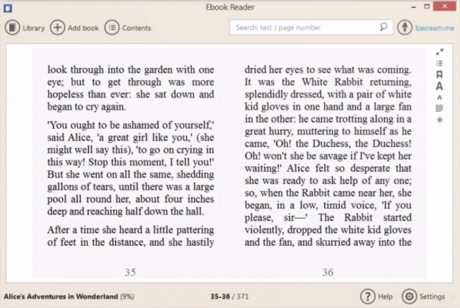 Рис. 3 – режим чтения книги в Ebook Reader (для Windows)