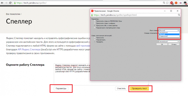 Рис. 2 – главная страница сервис Yandex Speller
