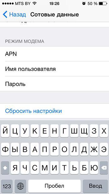 Рис. 7 – настройки модема в iOS