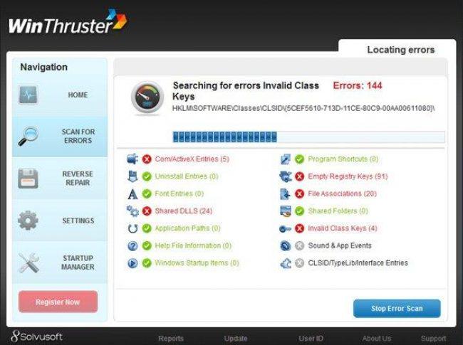 Рис. 7 - процесс сканирования реестра с помощью утилиты WinThruster