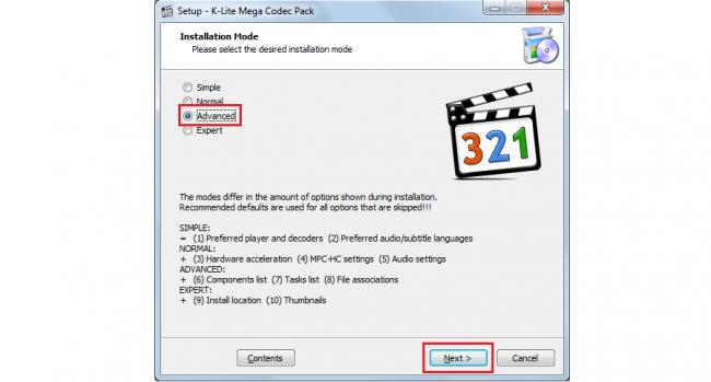 Рис. №9. Окно выбора вариантов установки Mega K-Lite Codec Pack