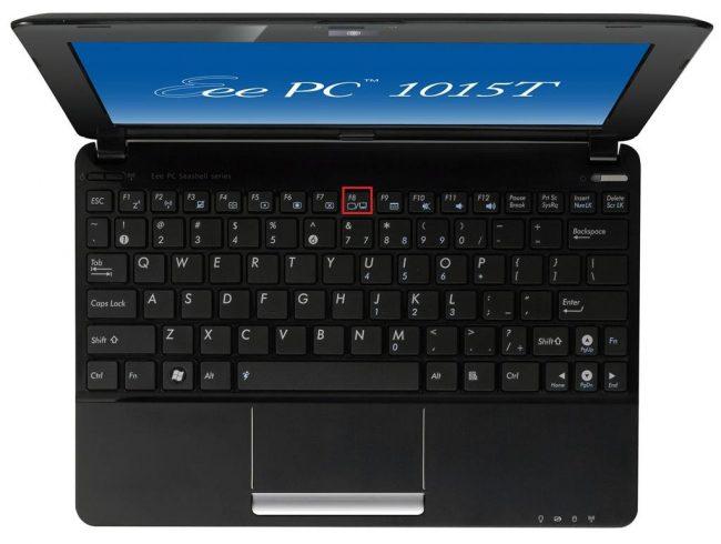 Рис.13. Кнопка на ноутбуке для работы с подключенным экраном.