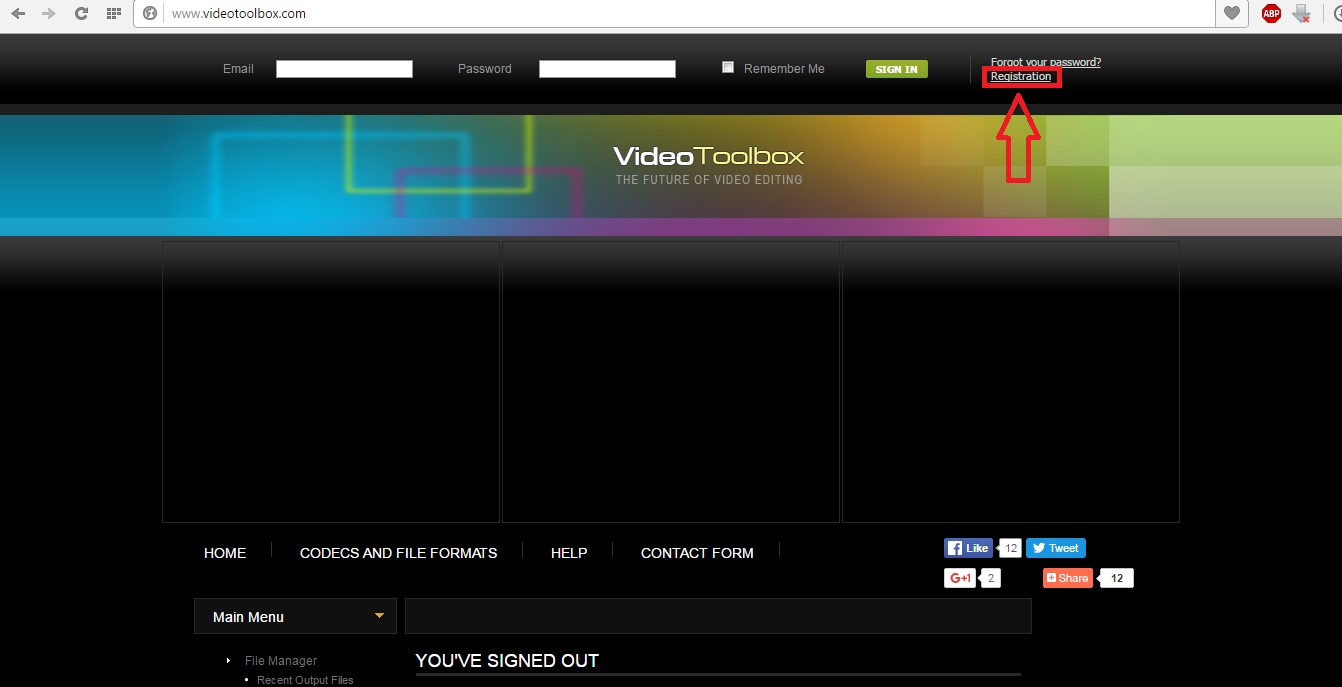 №1. Главная страница videotoolbox.com