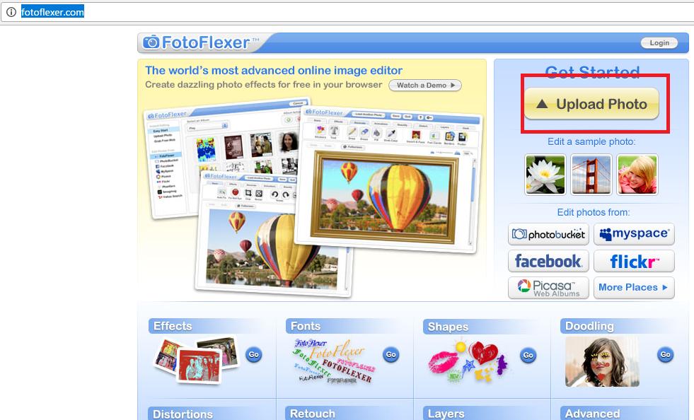 Рис. 13 – главная страница сайта FotoFlexer
