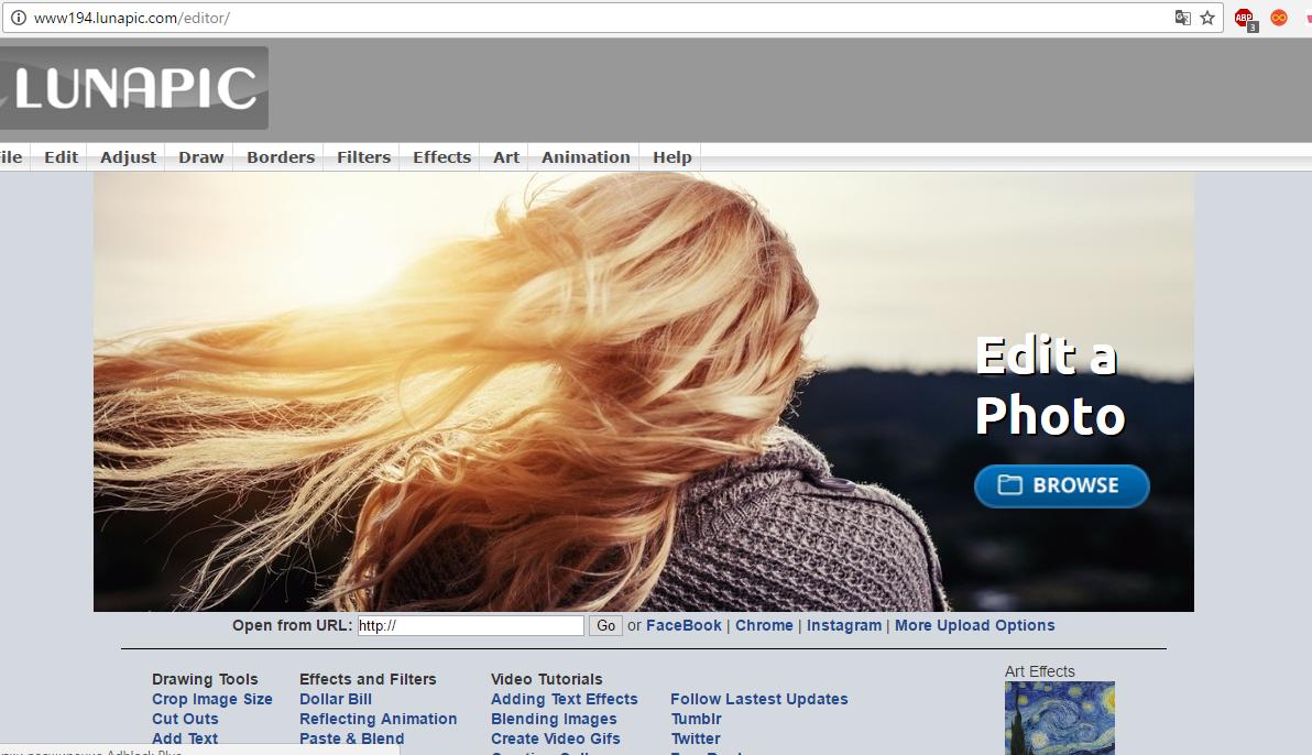 Рис. 14 – главная страница сайта-редактора LunaPic