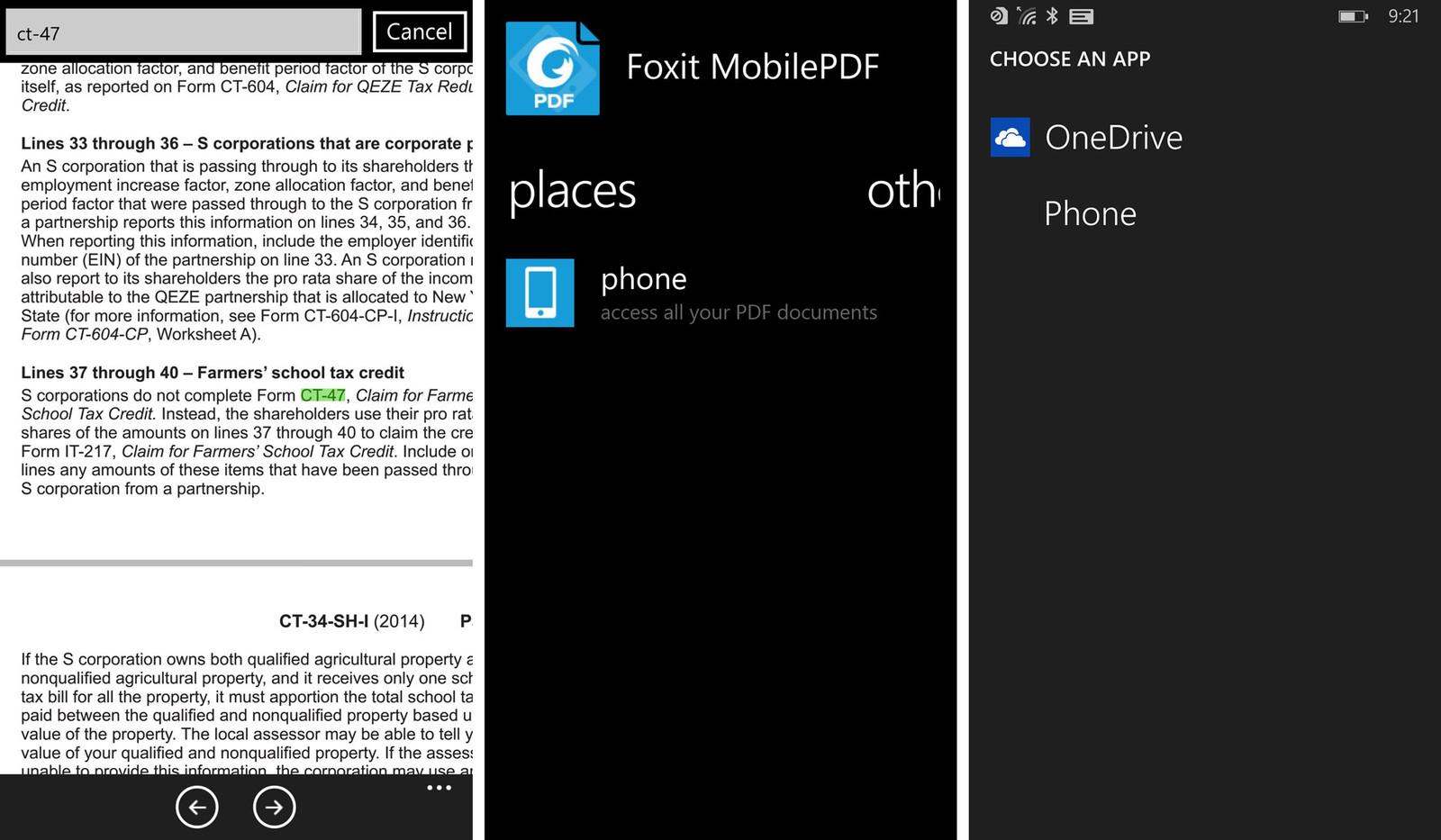 Рисунок 15. Просмотр документа в приложении Foxit MobilePDF на Windows Phone