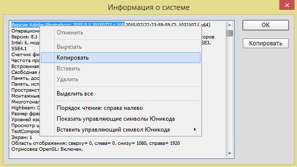 Рис. 2 – окно «Информация о системе» в Фотошоп