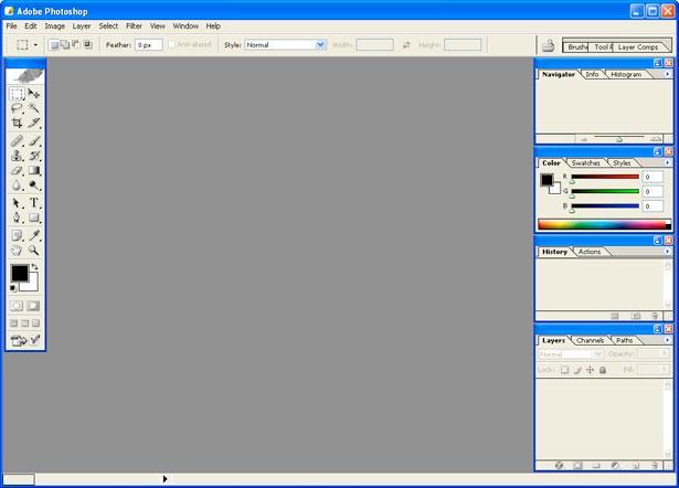 Рис. 6 – главное окно в Фотошоп 8.0