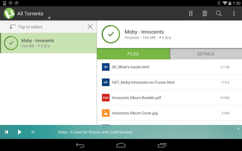 Рис.1. µTorrent для Android