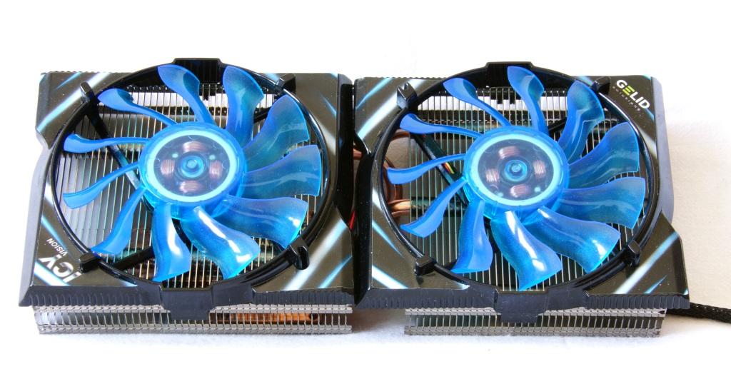 Рис.1. Стандартная система охлаждения современной видеокарты – 2 вентилятора на весь корпус