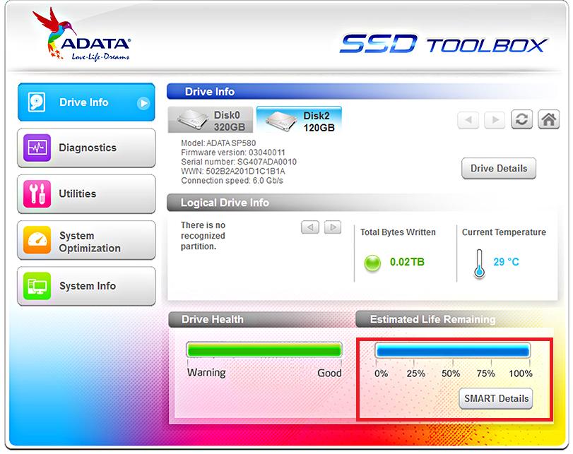 Рис.4. Проверка ресурса нового SSD с помощью специального ПО