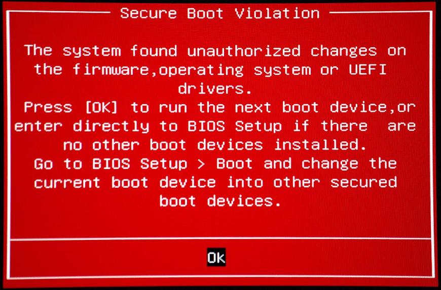 Рис.1. Сообщение при попытке поставить новую систему на компьютер с Security Boot.