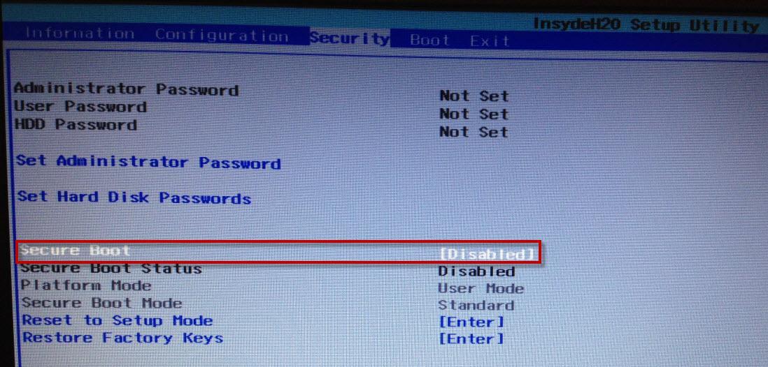 Рис.4. Отключение безопасной загрузки для модели ноутбука Lenovo.