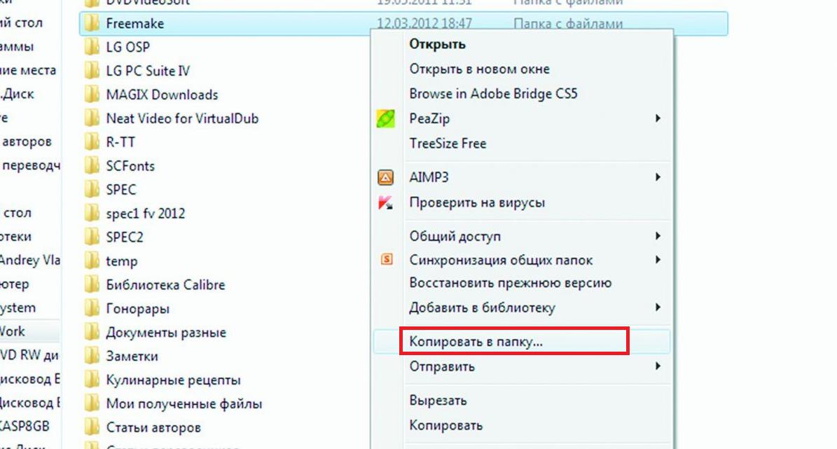 Рис.4. Копирование в папку в Windows 10.