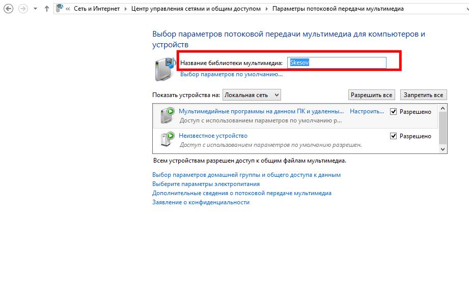 Рис.7. Настройки параметров домашнего медиа сервера.