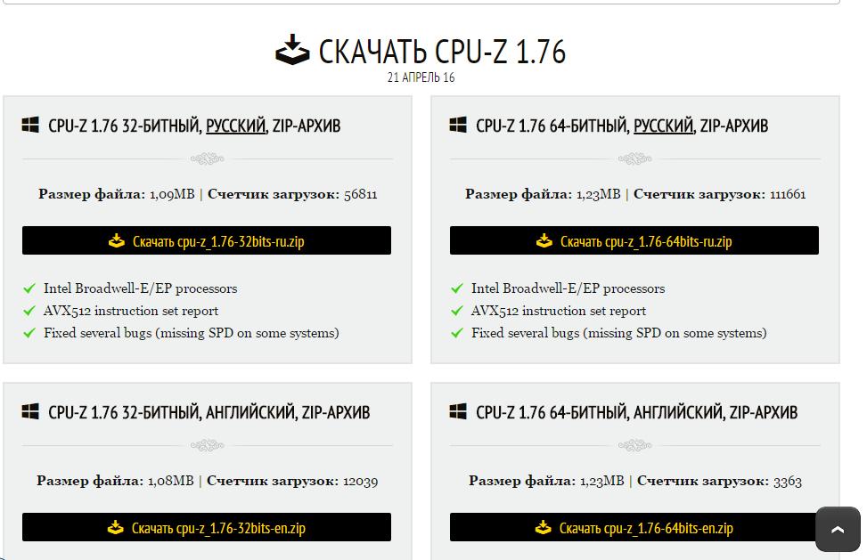 Рис.6. Список дистрибутивов приложения CPU-Z на сайте производителя.