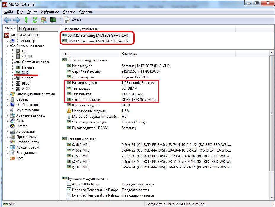 Рис.9. Информация об оперативной памяти в программе AIDA64.