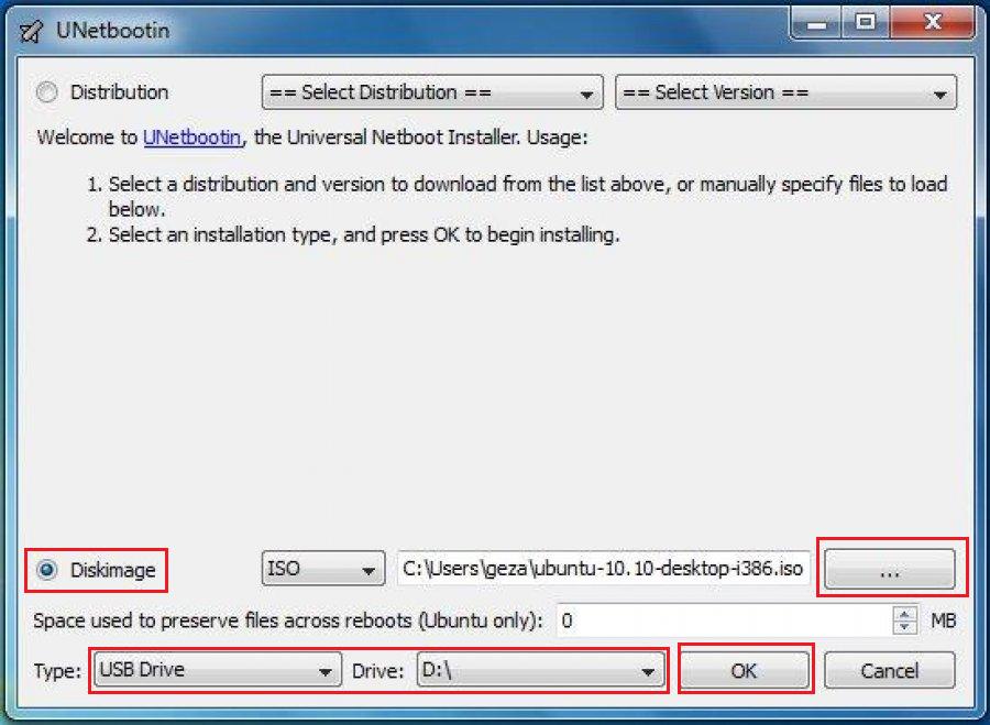 Рис.9. Настройка записи диска с Ubuntu в программе Unetbootin.