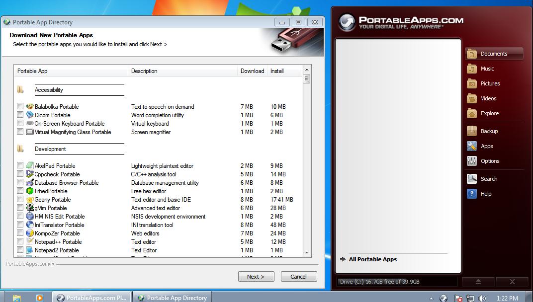 Рис.8. Список портативных приложений для PortableApps и интерфейс его платформы.