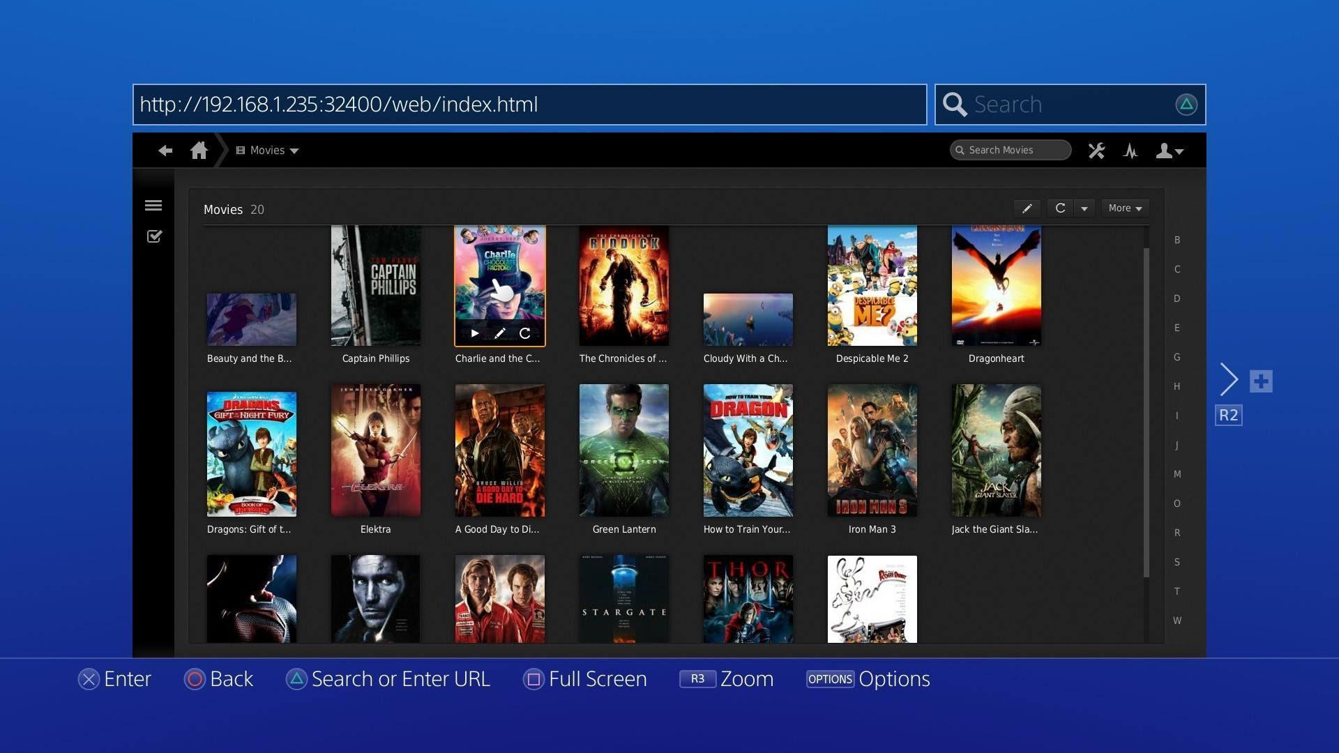 Рис.11. Сервер для просмотра фильмов с помощью игровой консоли PS4.