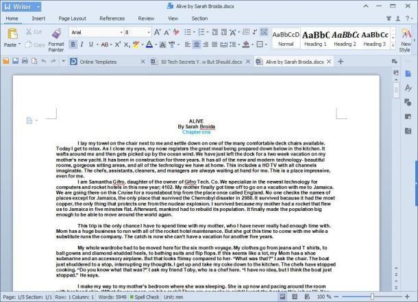 Рис. 11 - просмотр и редактирование документа Ворд в Kingsoft office