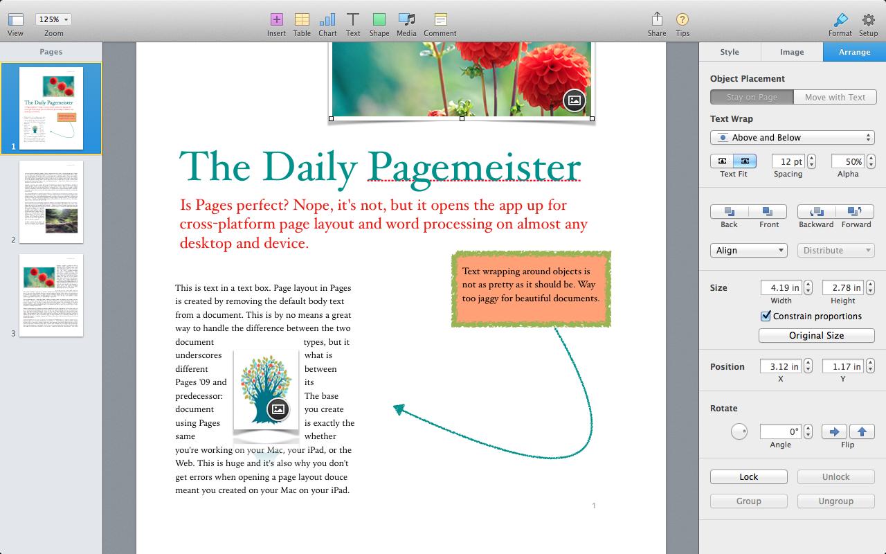 Рис. 12 - работа с файлами в программе Apple Pages