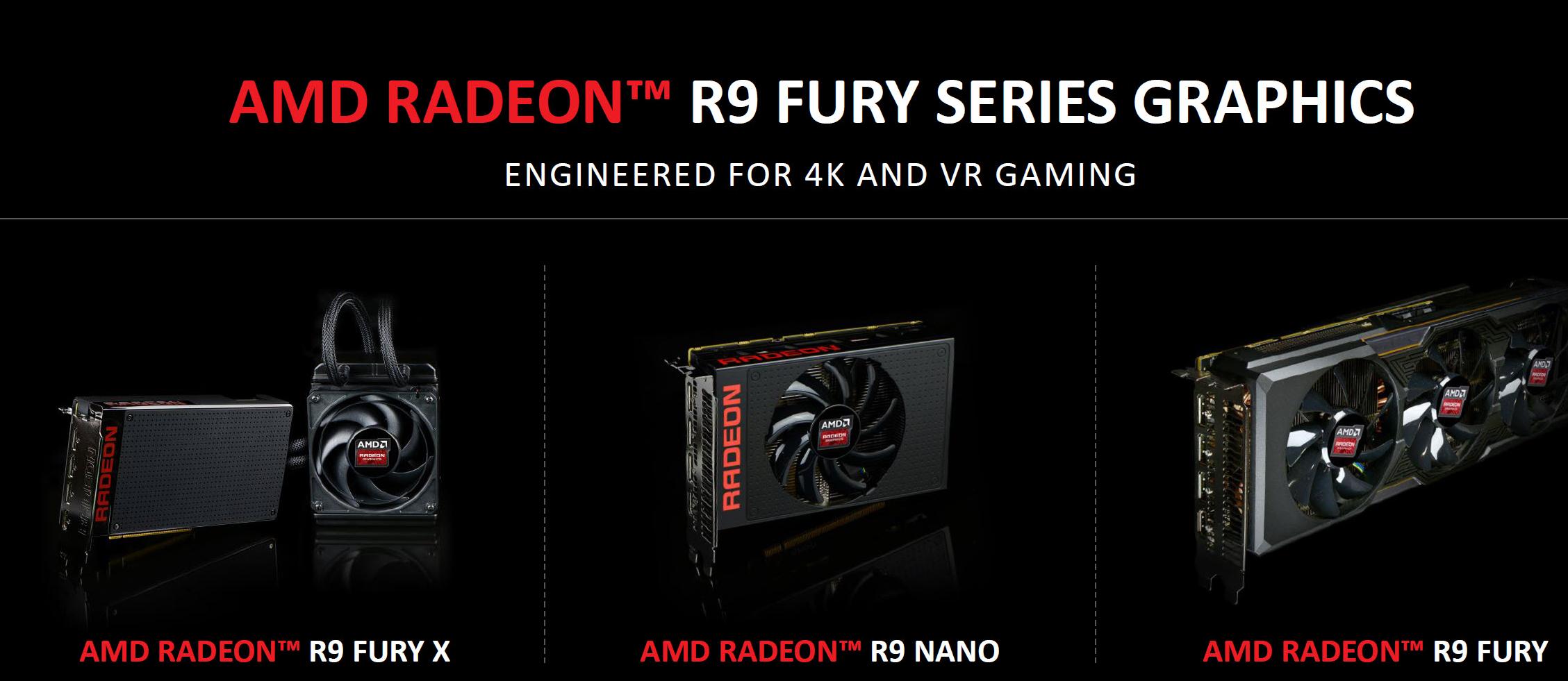 Рис. 2. Три флагмана от AMD: Fury X, Fury и Nano
