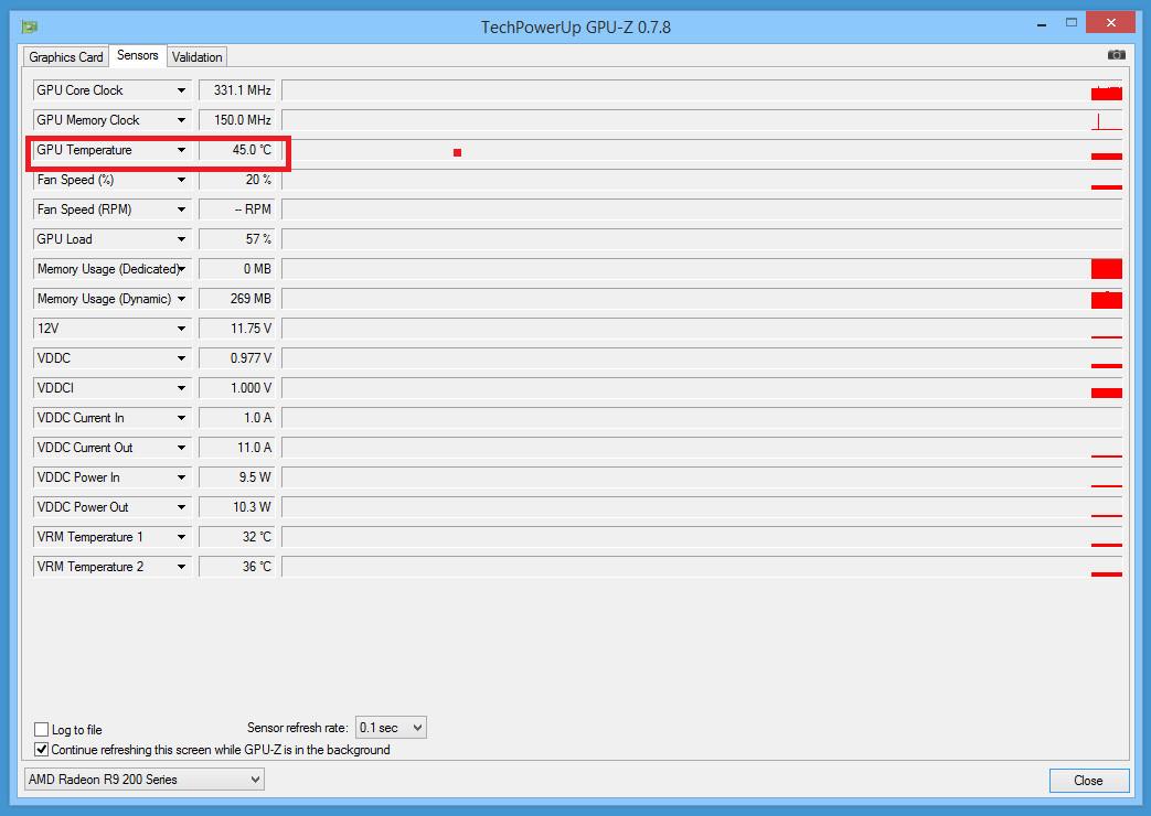 Рис. 3. Данные о температуре видеокарты в утилите CPU-Z