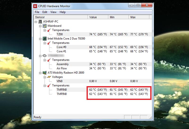 Рис. 4. Утилита Hardware Monitor для определения температуры всех процессоров компьютера