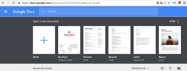 Рис. 5 - главная страница сайта Google Docs