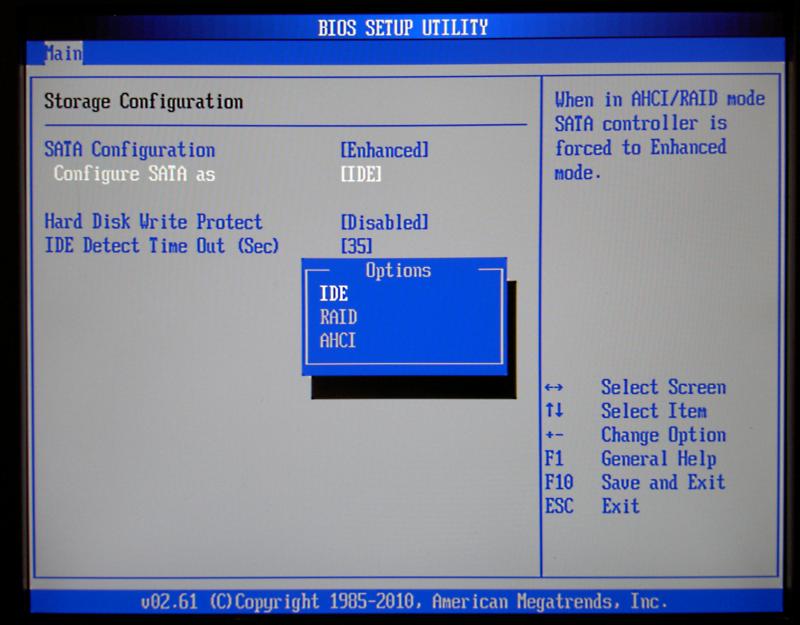 Рис.2. Определение режима интерфейса в БИОС