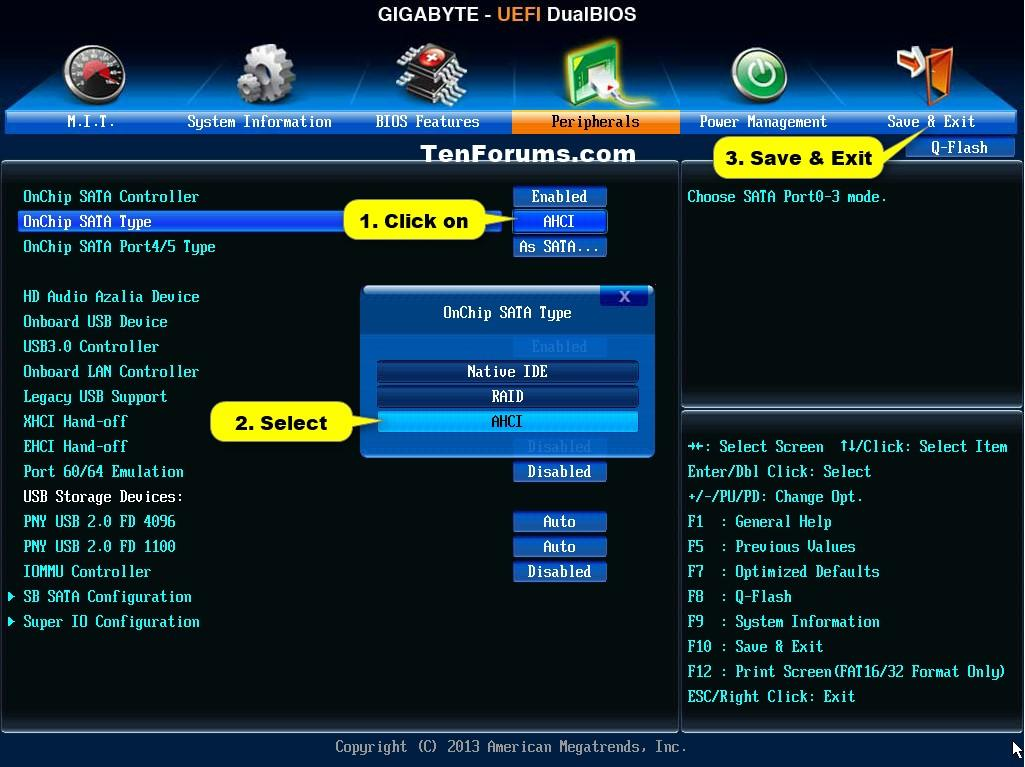 Рис.9. Переключение режима в интерфейсе UEFI