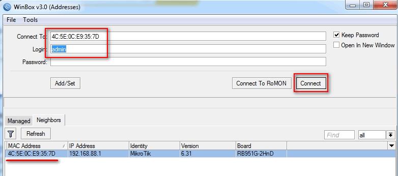 рис. 2. Процесс подключения сетевого устройства в утилите WinBox