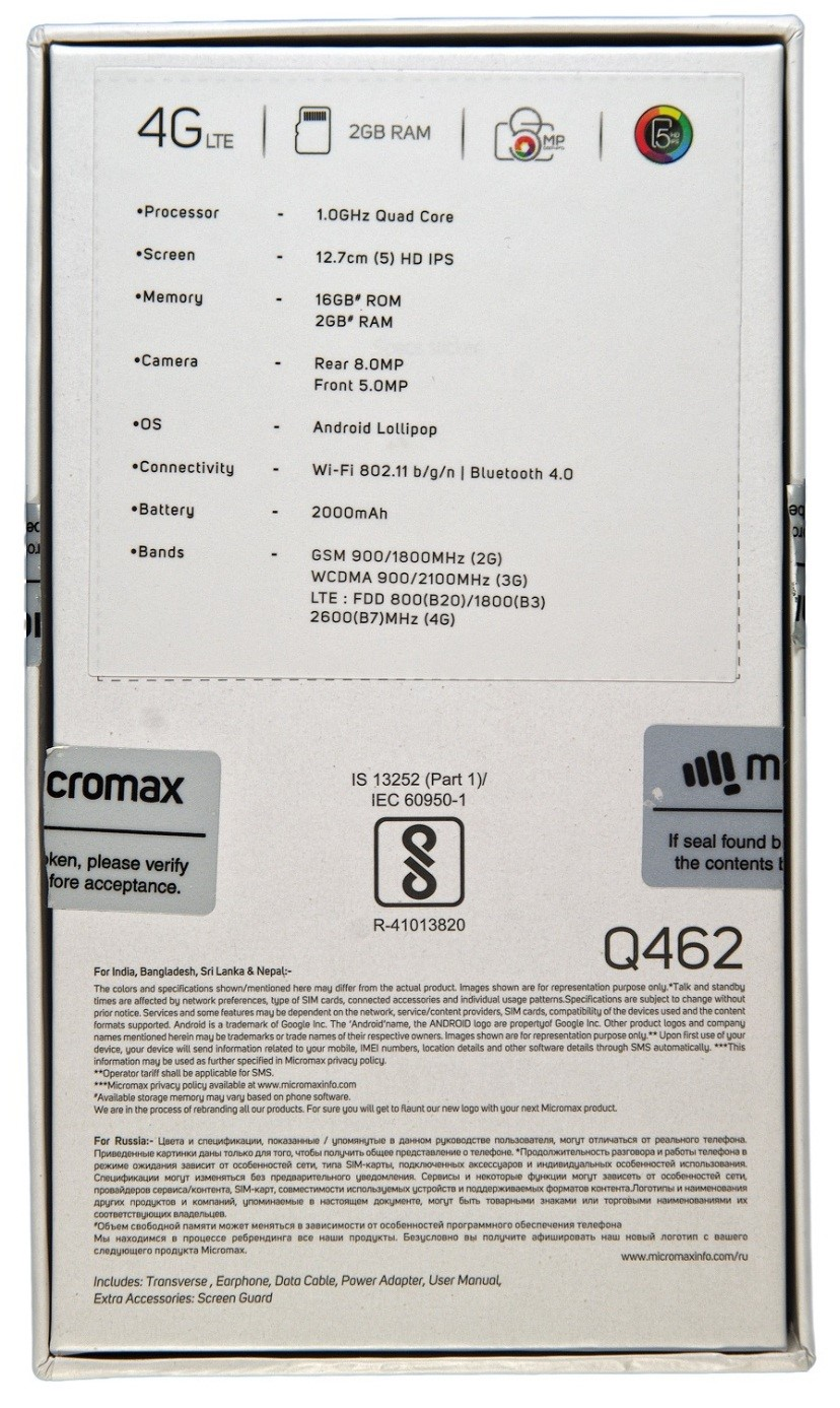 Micromax Canvas 5 Lite Q462 Slate Gray