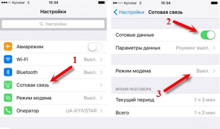 Как сделать на айфоне 6 режим модема