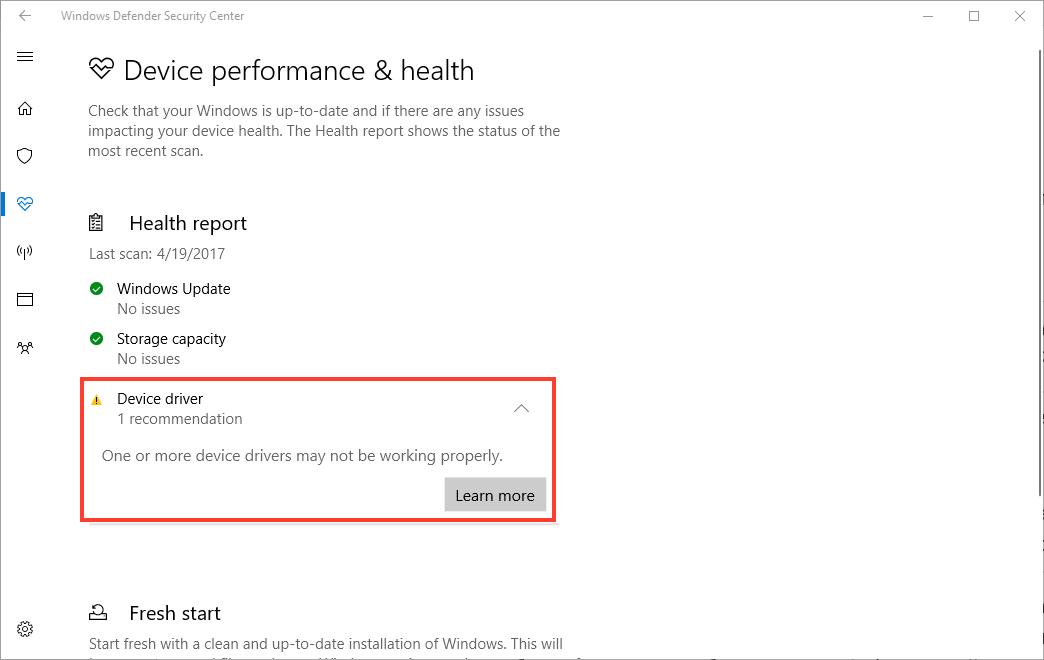 Центр обеспечения безопасности Windows теперь обнаруживает проблемы с оборудованием