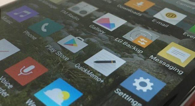 Иконки на экране LG K8