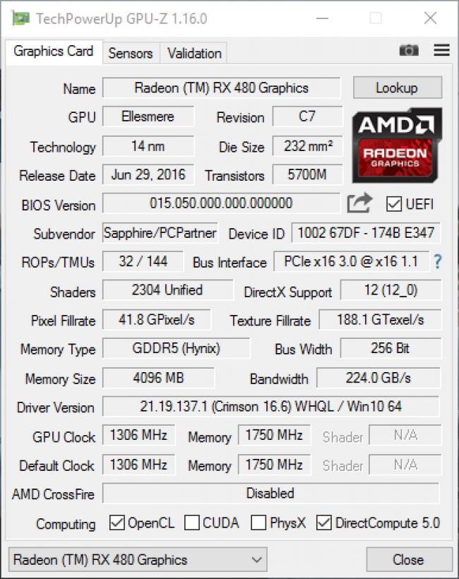 Технические характеристики в GPU-Z