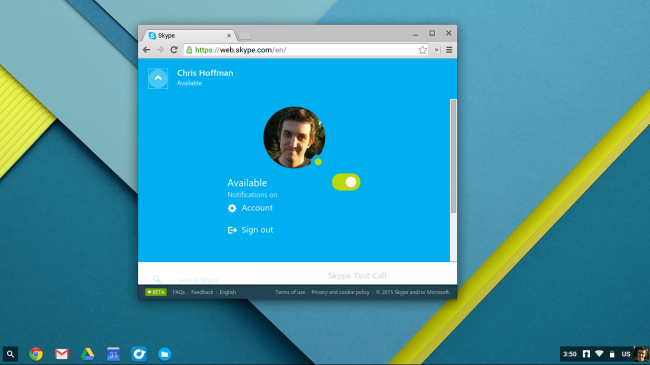 Skype на Chromebook