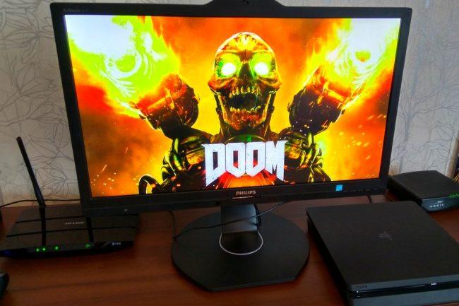 Doom 2016 на PlayStation 4. Динамические сцены идут без искажений.