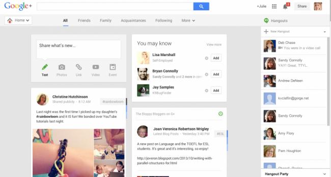 Новостная лента Google Plus