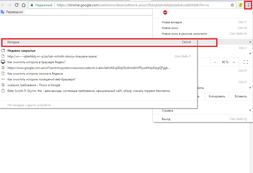 Список посещённых сайтов в Chrome.