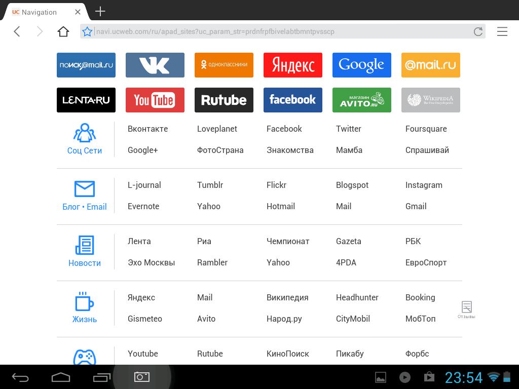 Панель быстрого доступа в UC Browser