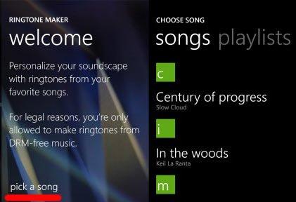 Выбор аудиофайла в Ringtone Maker