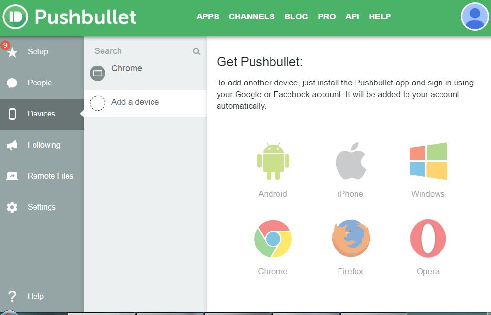 Список браузеров и операционных систем, поддерживаемых Pushbullet