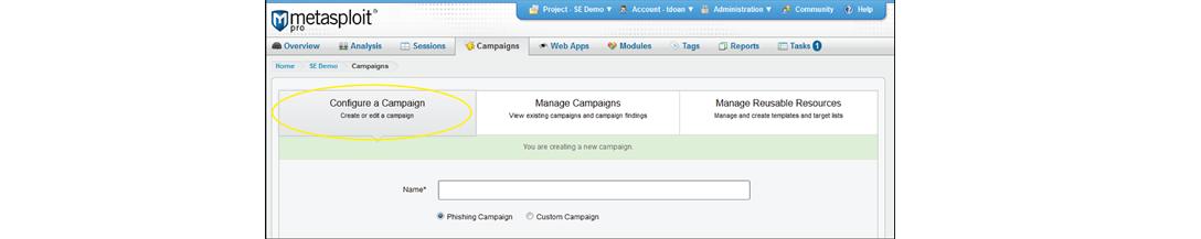 Ввод имени фишинговой кампании в Metasploit Pro