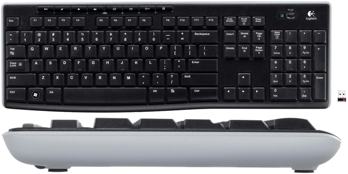 Logitech Wireless Keyboard K270 – вид сверху и сбоку.